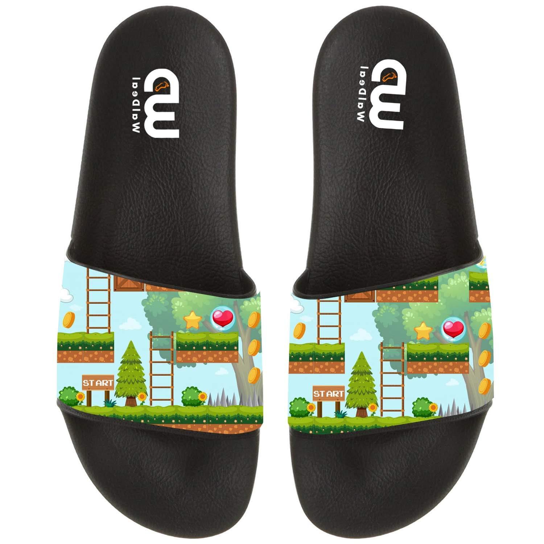 Game Template In Forest Scene Summer Slide Slippers For Men Women Kid Indoor Open-Toe Sandal Shoes
