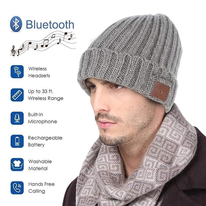 8add59b8eaf Muscleboon Wireless Bluetooth Beanie Hat, Sport Winter Knit Headphones  Speaker Cap As Men Women Unique