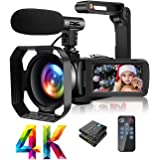 4K Video Camera Camcorder with Microphone Ultra HD 30MP YouTube Vlogging Camera 3.0 Inch Touch Screen 16X Digital Zoom Camera