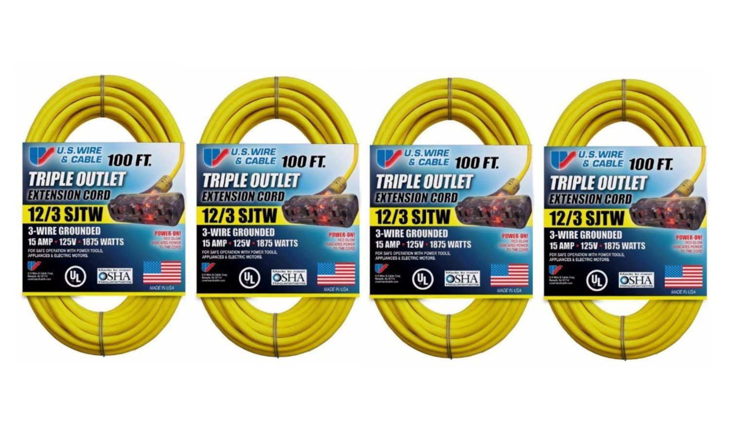 Us Wire 100 Foot Yellow Extension Cord With Lighted Pow R Block 4 Wiring Cable Outlet Pack