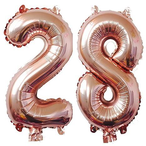 Amazon.com: 40 inch oro rosa Foil 28 helio Jumbo número ...