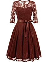 Dressystar Women's Elegant Floral Lace Dress 3/4 Sleeves Bridesmaid Midi Dresses Illusion Neckline
