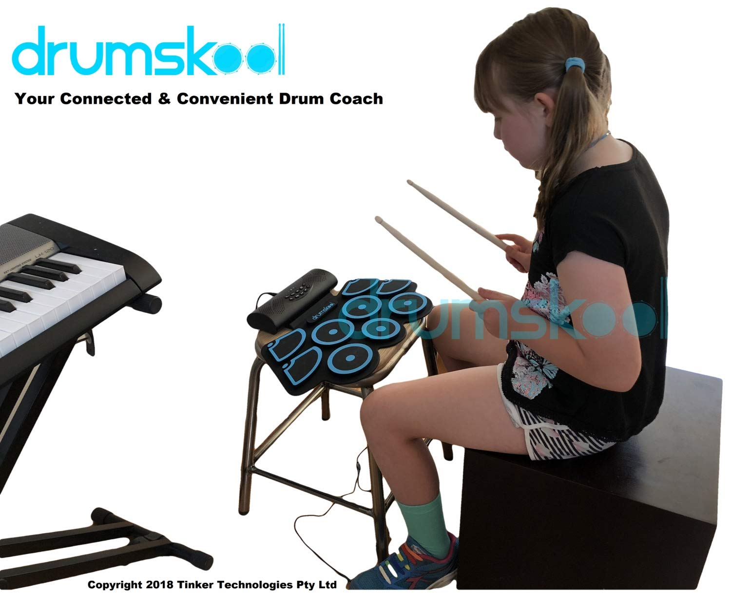 Drumskool Electronic Drum Set, MIDI Electric drum kit, Connect your phone to play along with included Drum Lessons, Speakers, Drum Pedals, Drum Sticks, 10 hours play time, Quickstart Guide by Drumskool (Image #9)