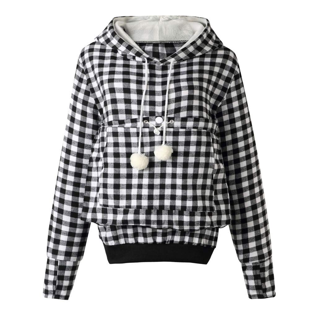 Plaid Print Sweatshirt, Women Cute Drawstring Hairball Style Big Pockets Velvet Hoodies Tops (White,L) by BNisBM