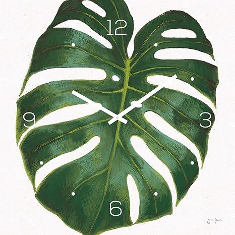levandeo Reloj de Pared Vidrio 30 x 30 cm Cristal Reloj Reloj de Cristal Monstera Hojas