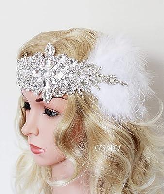 LISALI Stunning High Sparkle Flapper Headband,Crystal Headband,Halo Bridal Hair Pieces,White Fascinator,1920s Great Gatsby Headband