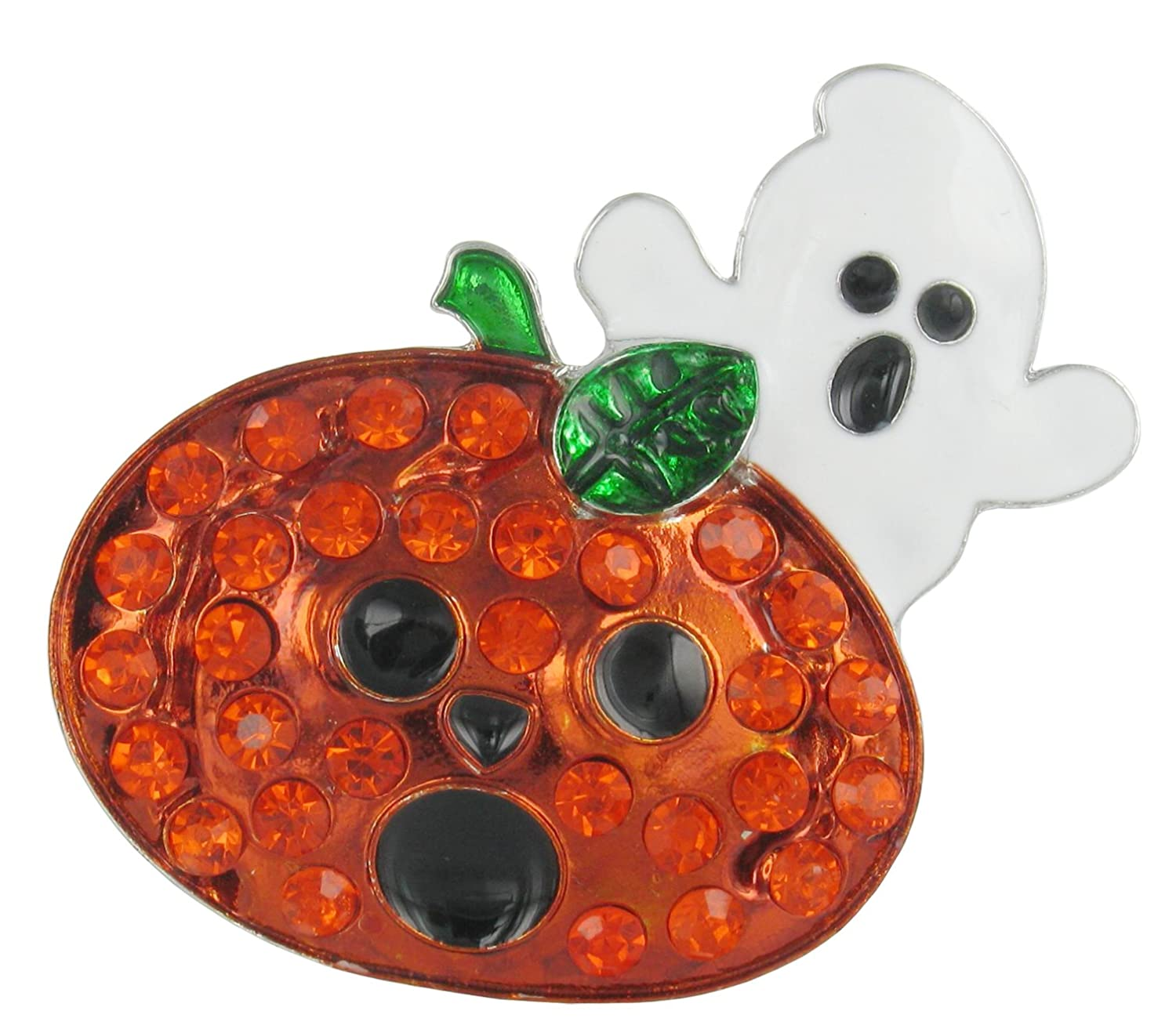 Happy Halloween Spooked Jack and Ghost Rhinestone Brooch Pin with Orange Crystals