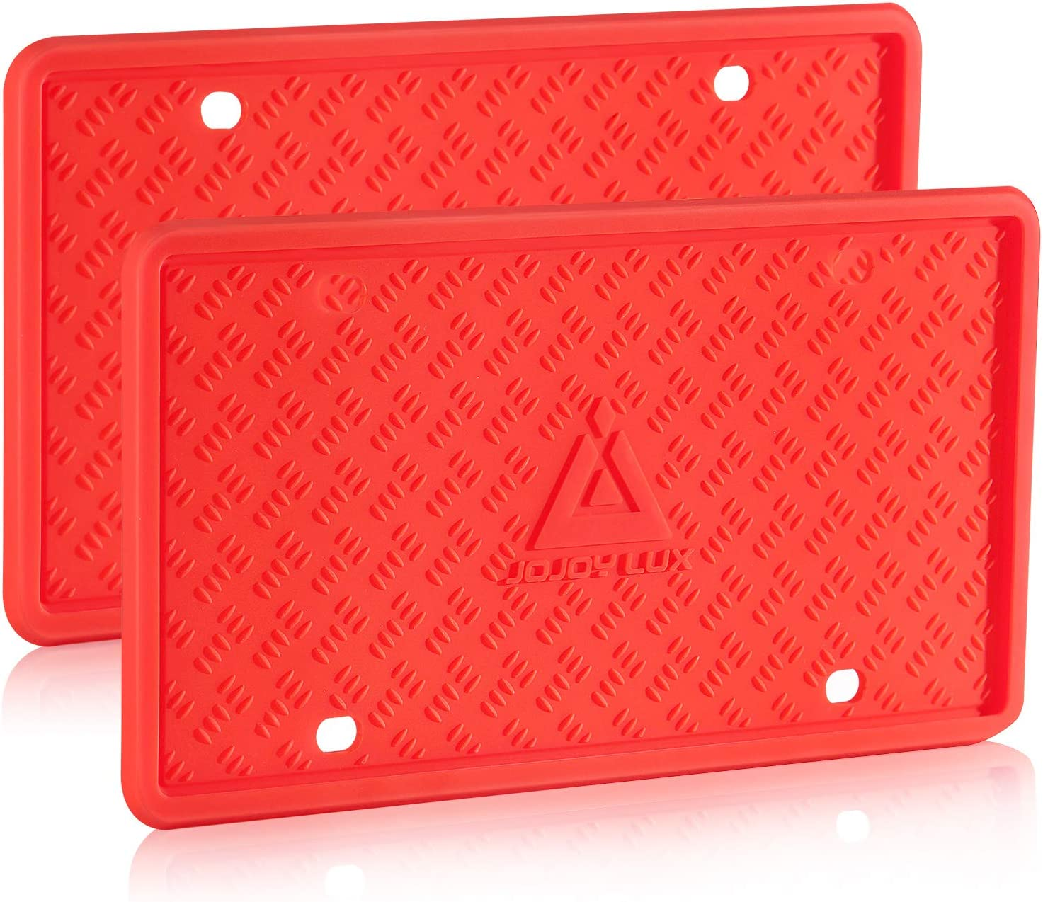 JOJOY LUX 2 Pack Silicone License Plate Frame, License Plate Holder, Universal American Auto Black License Plate Frame Rust-Proof, Rattle-Proof, Weather-Proof (RED)