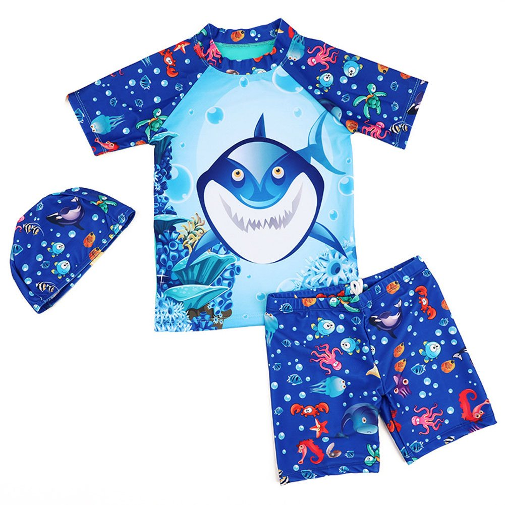 Kids Boys Shark Two Pieces Rashguard Swimsuit Long Shirt and Shorts Set