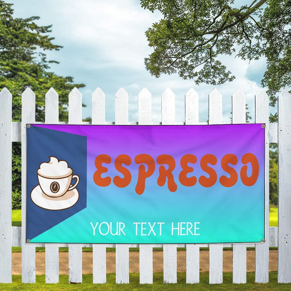Custom Industrial Vinyl Banner Multiple Sizes Espresso Style A Personalized Text Here Funny and Novelty Outdoor Weatherproof Yard Signs Purple 10 Grommets 56x140Inches