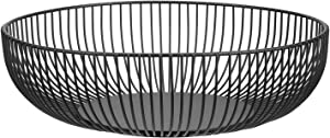Metal Wire Countertop Fruit Storage Basket Stand for Living Room, Kitchen, Pantry, Office,11 inch(black-hemisphere)
