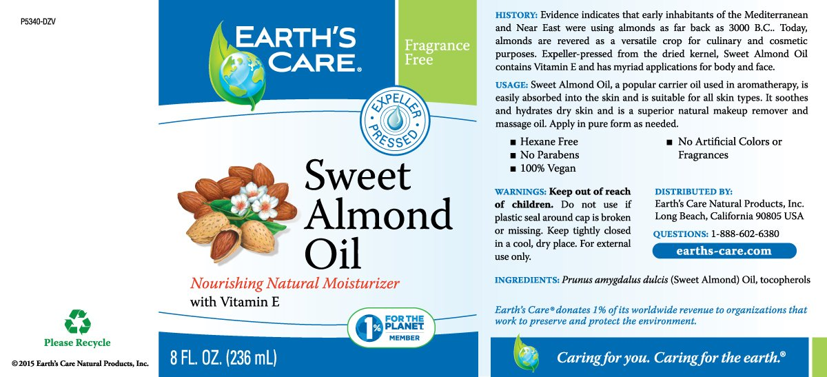 Earth's Care Sweet Almond Oil, Expeller Pressed, No Colors, Fragrances or Parabens, Vegan, Bottled in USA 8 FL. OZ. by Earth's Care (Image #2)