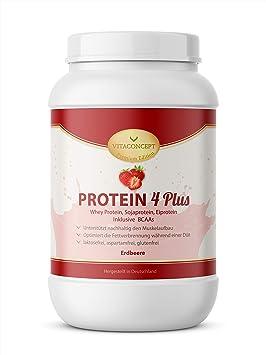 Proteina en polvo 4 PLUS - 1 kg de proteína en polvo, proteína de soja con BCAA, VITACONCEPT fresa