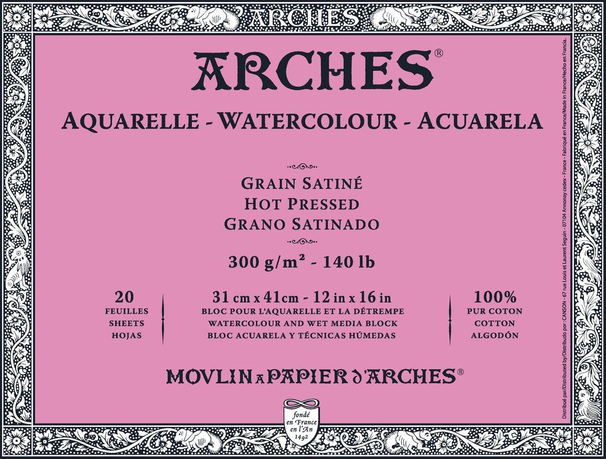 ARCHES, blocco di fogli di carta per acquerello, 31 x 41 cm, 300 g mq, incollata a pressa sui 4 lati – bianco naturale (confezione da 20 fogli)