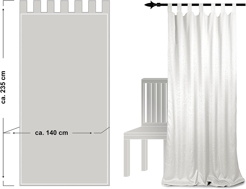 H/öhe ca Schlaufenschal der Serie Campione braun Stoffbreite ca mit 7 Schlaufen 140 cm edle Wohndekoration in dezentem Design erh/ältlich in 5 trendigen Farben 235 cm
