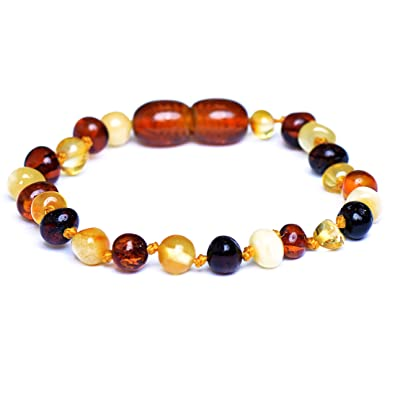 Genuine Amber Raw Amber Bracelet - Anklet - 100% Authentic Baltic Amber - Handmade Jewelry - Mixed colors cBuAz