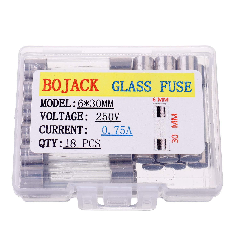 paquete de 18 piezas BOJACK 6x30 mm 0.75 A 250 V 0.24x1.18 pulgadas F0.75AL250V 0.75 amp 250 voltios Fusibles de vidrio de soplado r/ápido