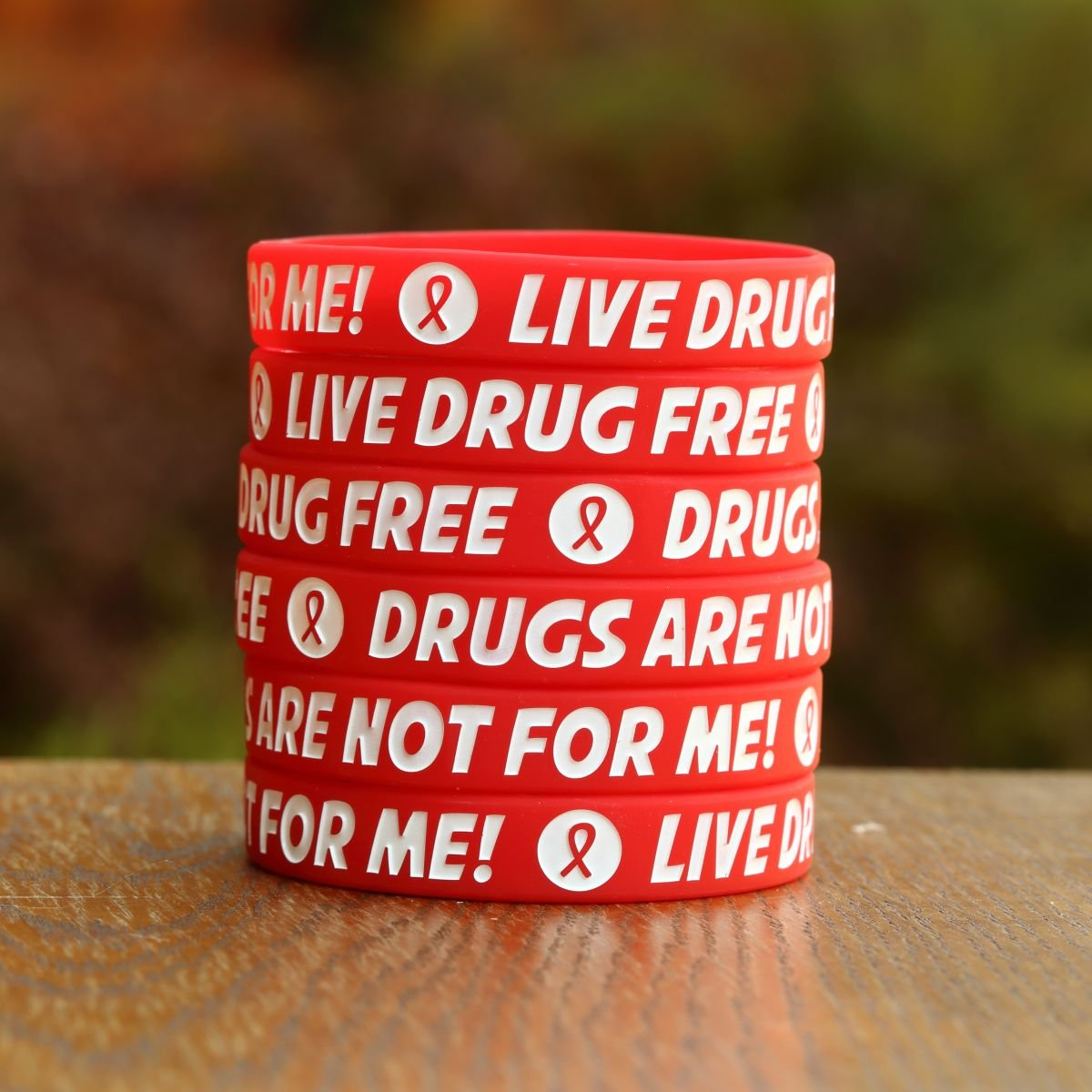 200 Red Child Size Live Drug Free Bracelets - Red Ribbon Week Wristbands by SayitBands (Image #3)