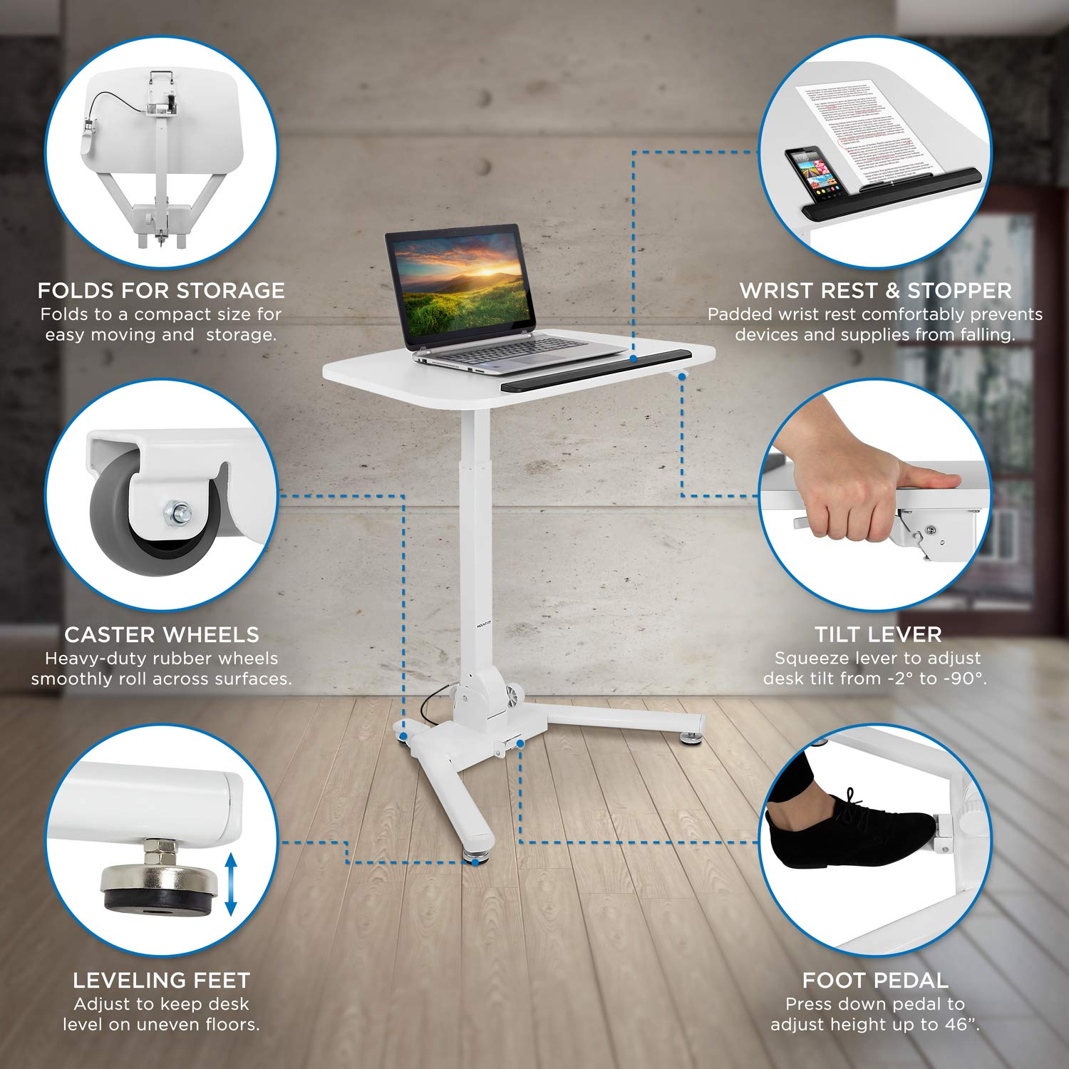 Mount-It! Standing Folding Laptop Cart, Sit Stand Mobile Desk with Height Adjustable 31.1'' x 20.5'' Platform, Supports up to 17.6 lbs, White (MI-7949) by Mount-It! (Image #3)