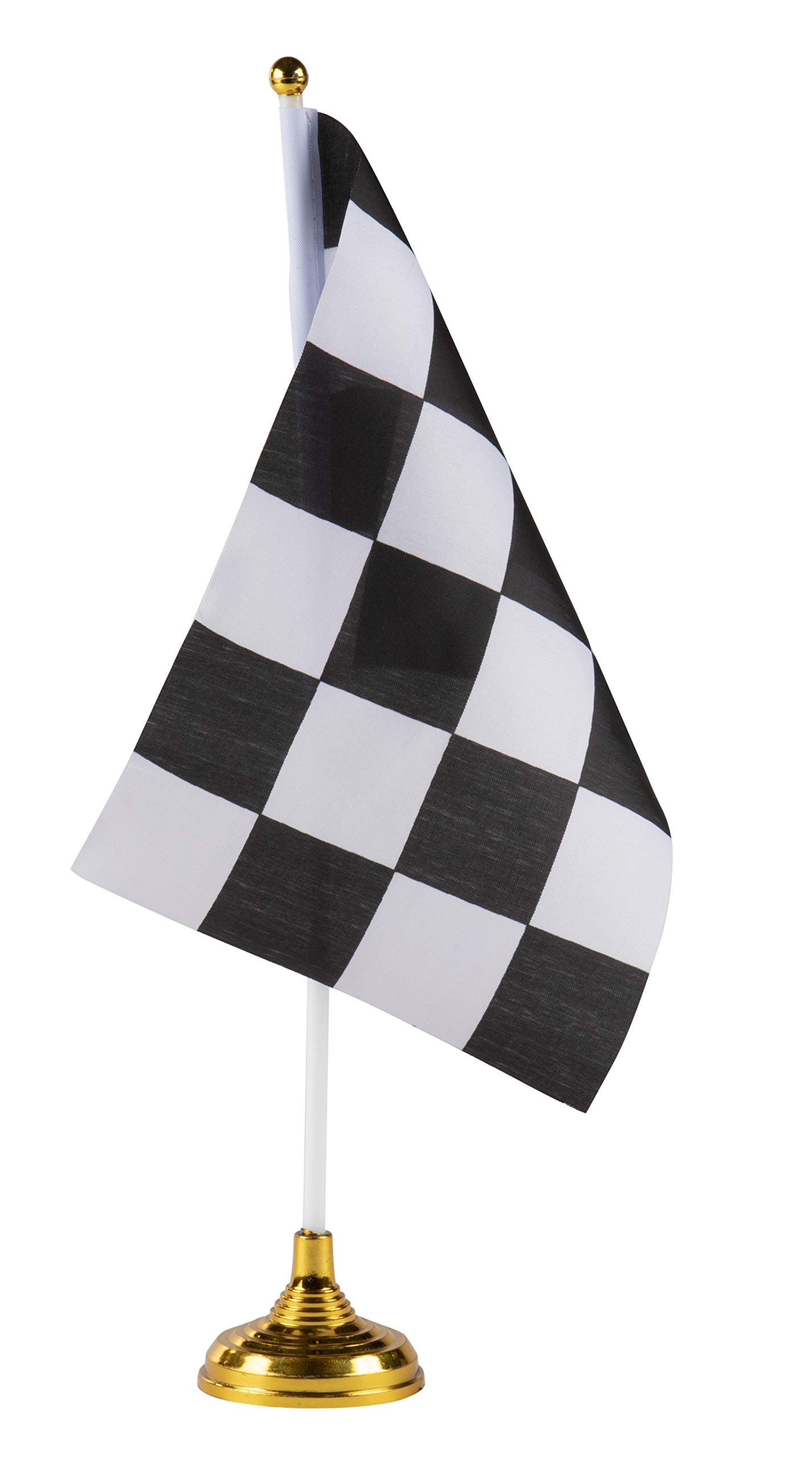 Checkered Desk Flags - 24-Piece Racing Flags with Stick and Gold Stand, Race Car Birthday Party Favors, Black and White, 8.5 x 5.5 Inches