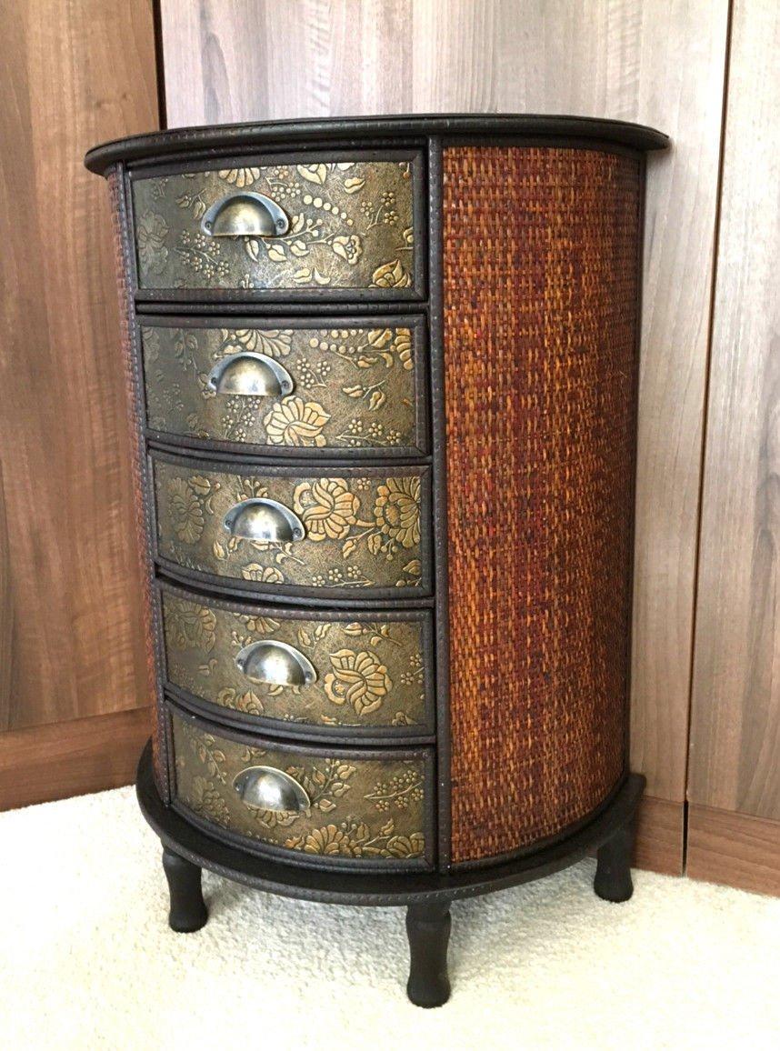 Home Delights Chinese 5 Drawer Dark Wood Storage Unit Cabinet Oriental Furniture Redwood