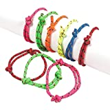 Kidsco Rope Friendship Bracelets - Pack of 12 – Fits Most Wrists - Assorted Colors Nylon Friendship Bracelets Kids Adults Beauty, Fashion, Great Party Favors, Gift, Prize