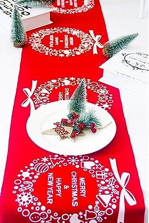 mes fetes.com Chemin de Table Noel Lin Rouge et Or 28cm x 3m