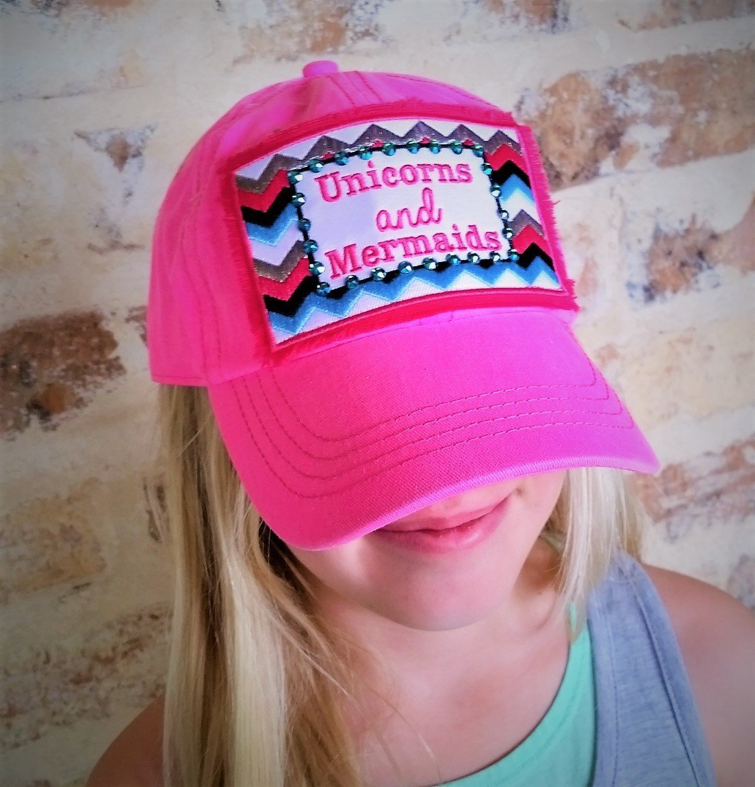 Loaded Lids Girl's Unicorns and Mermaids Austrian Crystal Embellished Baseball Cap