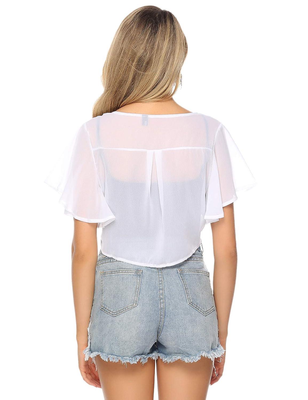 iClosam Womens Short Sleeve Bolero Sheer Open Front Chiffon Shrug Cardigan