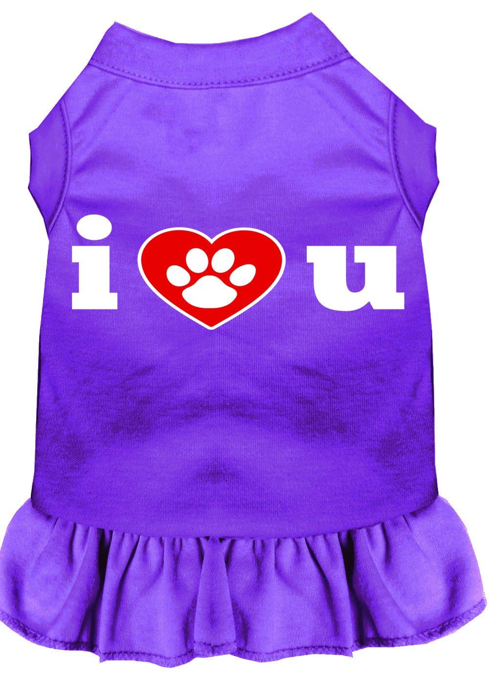 Mirage Pet Products 58-09 XXLPR Purple I Heart You Screen Print Dress, XX-Large