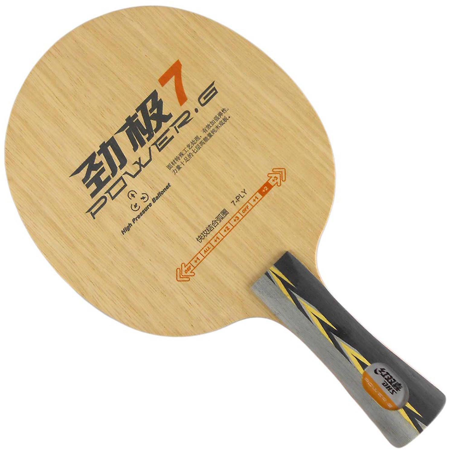 DHS POWER.G7 (PG7, PG 7) 7-Playwood Attack+Loop OFF+ Table Tennis Blade for Ping Pong Racket, Long(shakehand)-FL