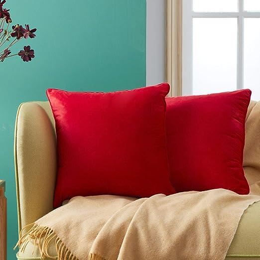 Topfinel juego 2 Hogar cojín Terciopelo Decorativa Almohadas Fundas Color sólido para Sala de Estar sofás 50x50cm Rojo