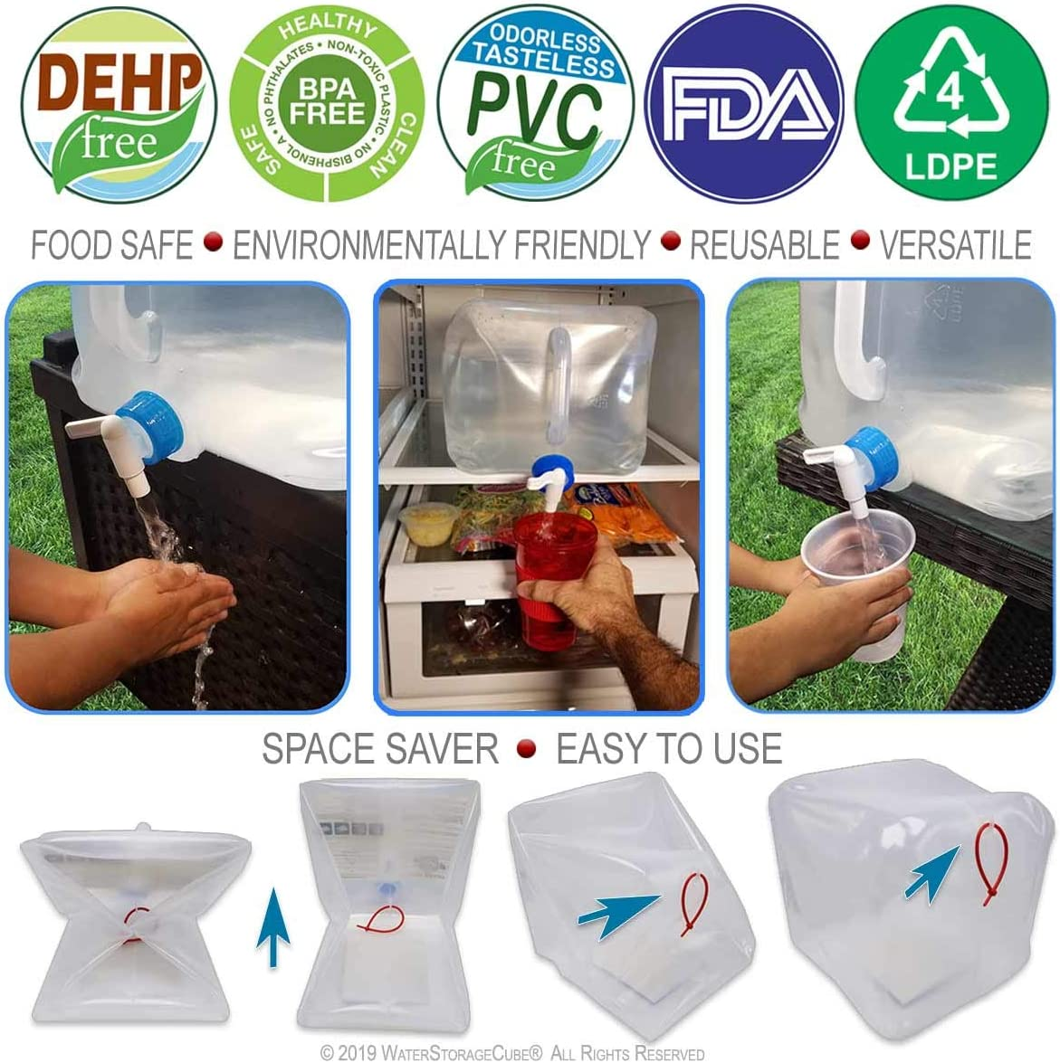 WaterStorageCube BPA Free Collapsible Water Container with Spigot Camping Water Storage Carrier Jug for Outdoors Hiking Hurricane Emergencies Foldable Portable FDA Water Canteen 1.3//2.5//5 Gallon