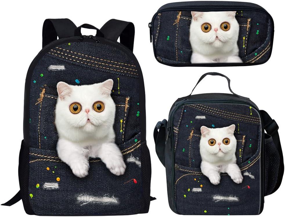 Coloranimal White 3D Cat Toddler Kids School Knapsack+Lunch Pouch+Pencilcase