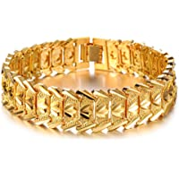Asma Jewel House 18k Yellow Gold Plated Link Bracelet Carving Wristband 8.27 inch for Men