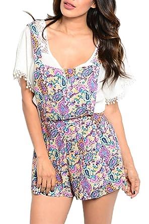 4c1d7edfe5a8 Amazon.com  2LUV Women s Short Sleeve Crochet Lace Floral Print ...