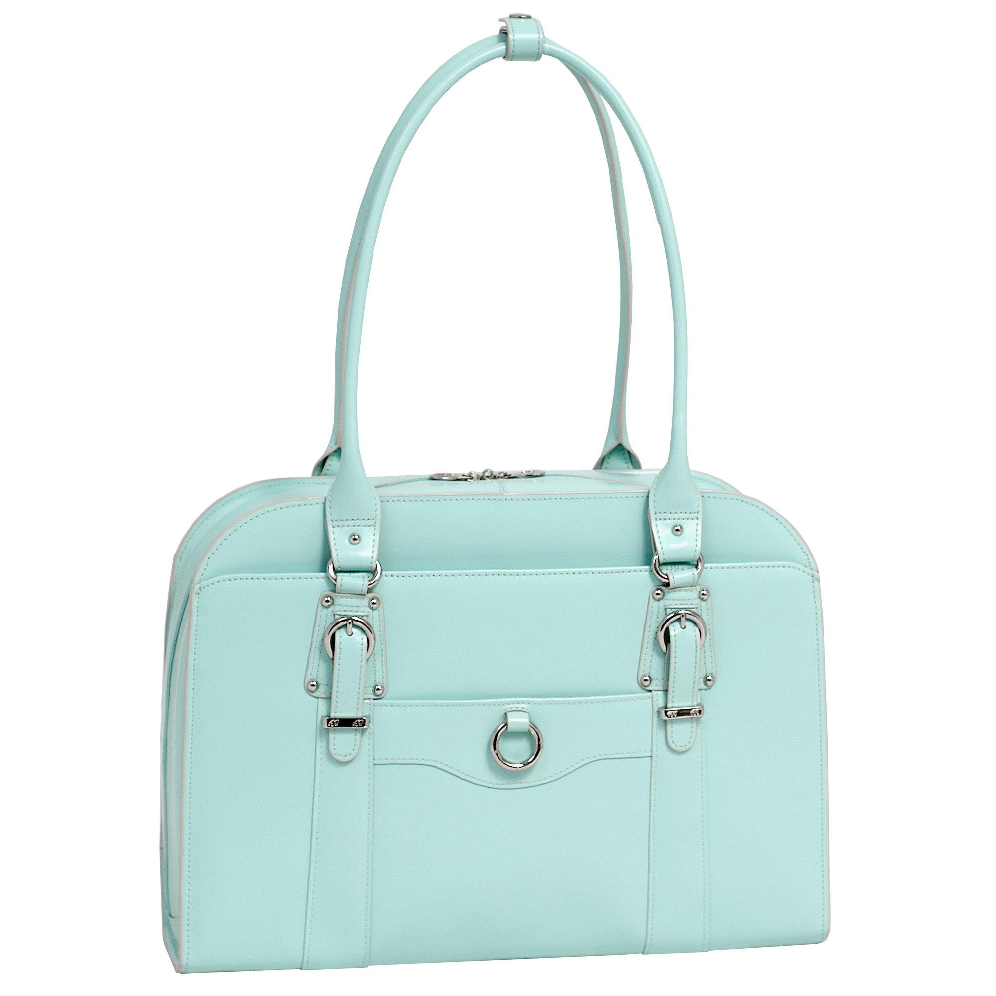 Women's Laptop Briefcase, Leather, 14''in, Aqua Blue - HILLSIDE | Mcklein