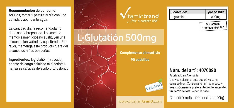 L-Glutatión 500mg - reducido - 90 tabletas - antiedad y para el bienestar intestinal y mental: Amazon.es: Salud y cuidado personal
