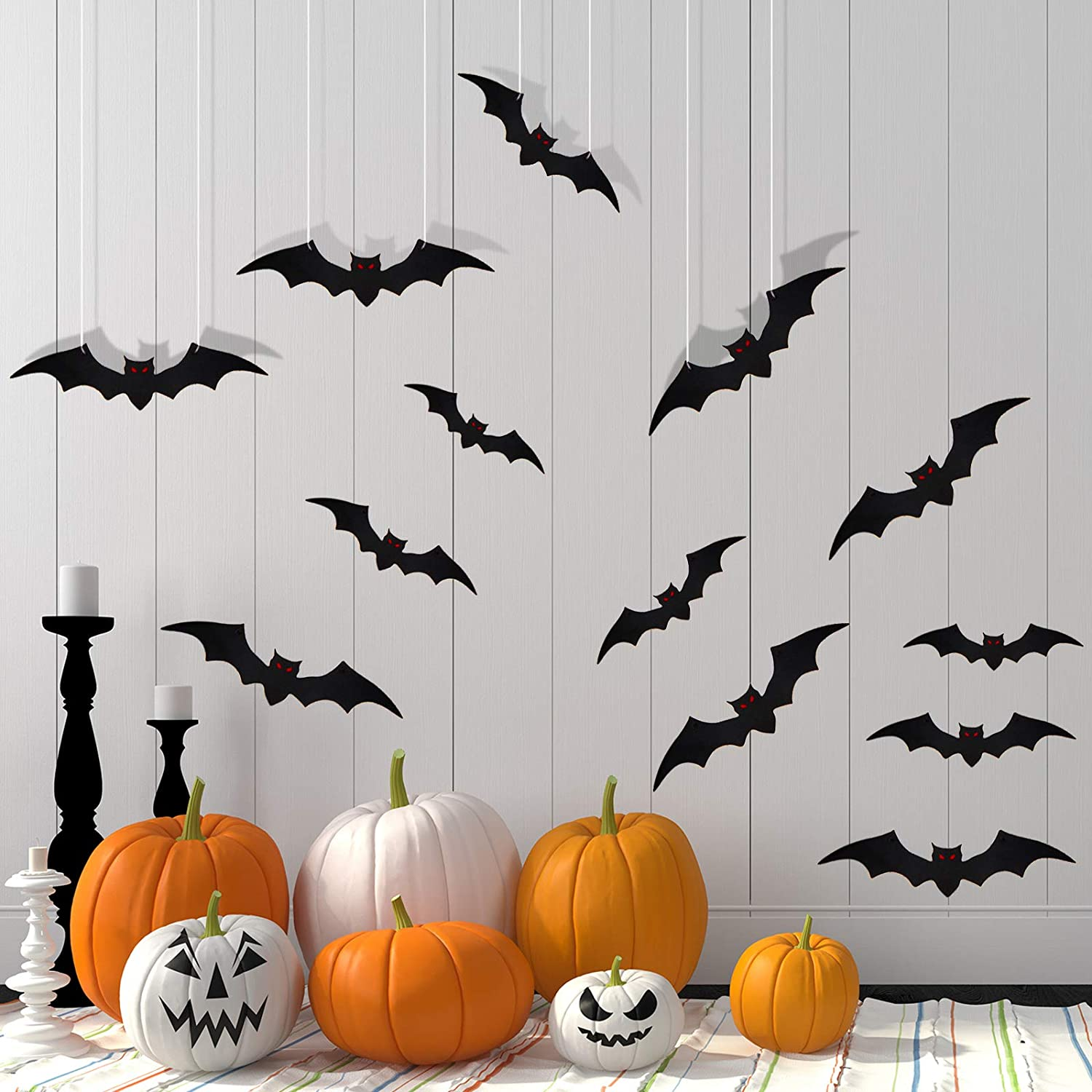 60 Pieces Halloween Bat Cutouts Hanging Bats for Home Decor, 3D Black Scary Bats Wall Decals and Window Clings for Halloween Indoor Outdoor Yard Party Supplies