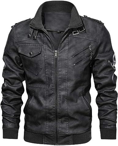 JIINN Lederjacke Herren Abnehmbarer Hoodie Herbst Winter Bomber Motorrad PU Leder Jacken Mit Kapuze Mantel Mens Hooded Leather Jacket