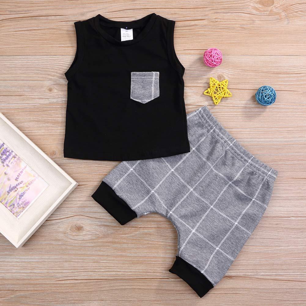 Short Pants Clothes Outfit Set Baby Boys Girls Summer Cotton Sleeveless T-Shirt Vest