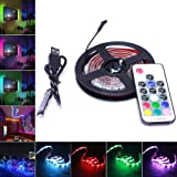 AVAWAY RGB LED Light Strip, USB Powered 5V SMD 5050 Flexible Waterproof TV Back light with 17 Keys Remote Control for TV Background Lighting PC Notebook Home Decoration - 39Inches/1M