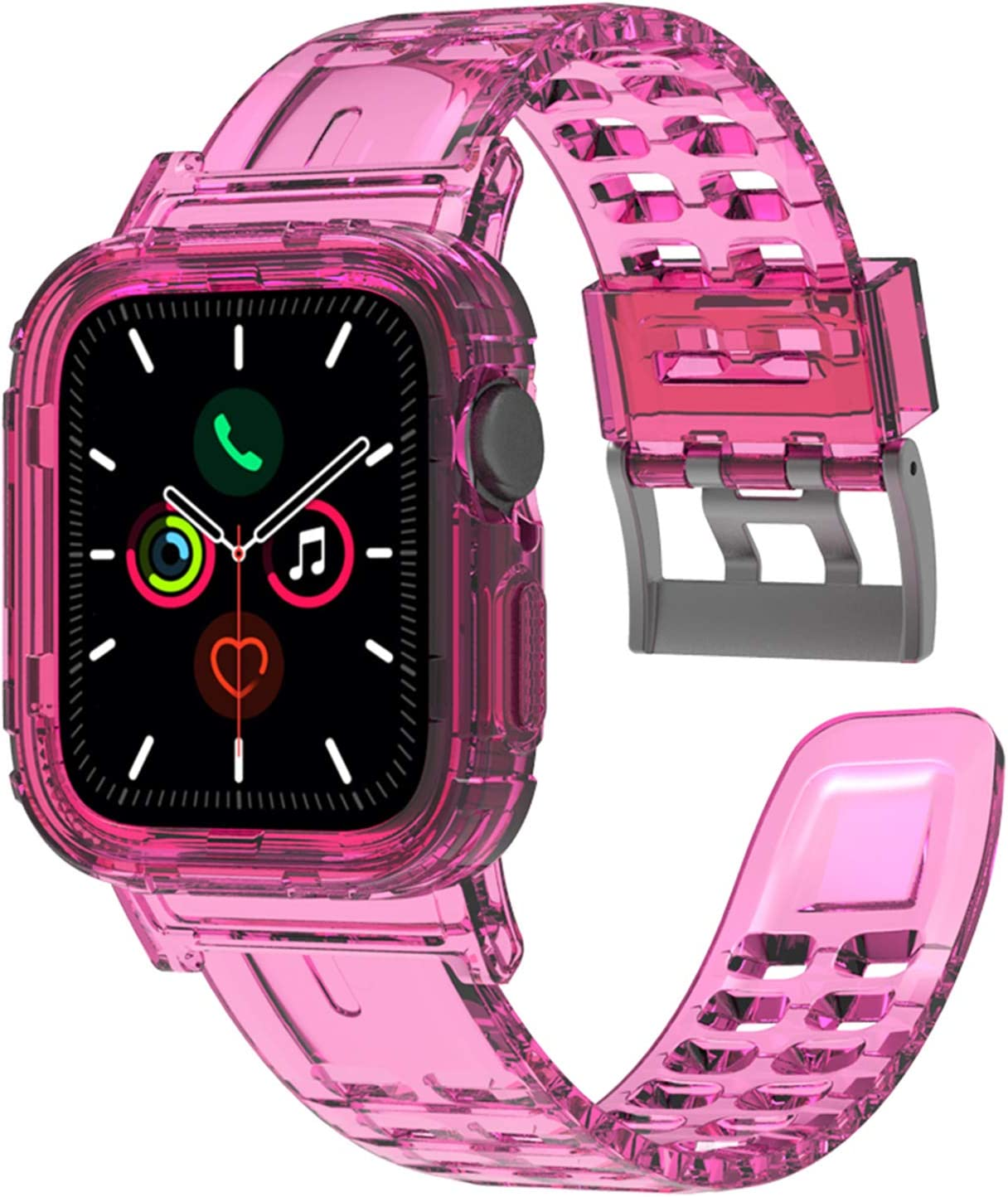 Giner Compatible with Apple Watch Band with Case, Women Man Cute Girl Crystal Clear Rugged Bumper Protective Case with Bands Strap for Apple iWatch Series SE 6 5 4 3 2 1 (Pink 42mm 44mm)
