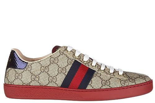 Gucci Zapatos Zapatillas de Deporte Mujer GG Supreme Beige EU 37.5 433900 K2LH0 9767: Amazon.es: Zapatos y complementos