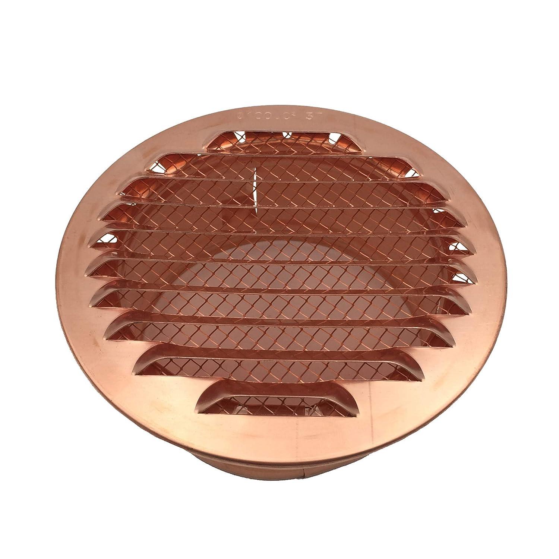 griglia ventilazione con boccaglio attacco tondo tutte le dimensioni Rame, DIAM. 160 MM Griglia aerazione in rame con rete alta qualit/à