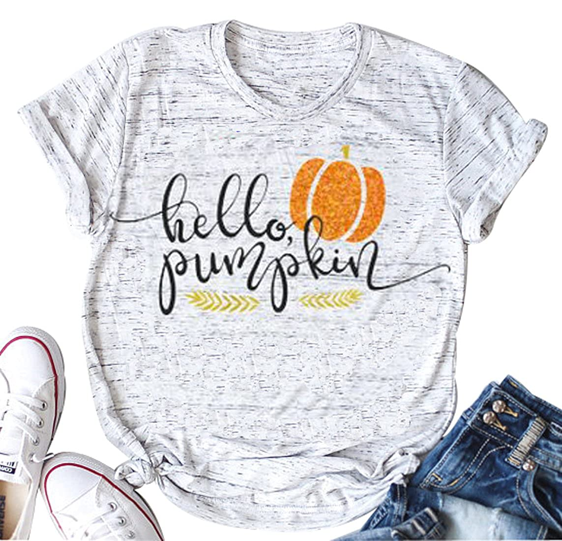 Hello Pumpkin Halloween T-Shirt Women Casual Short Sleeve Tops Tee Blouse