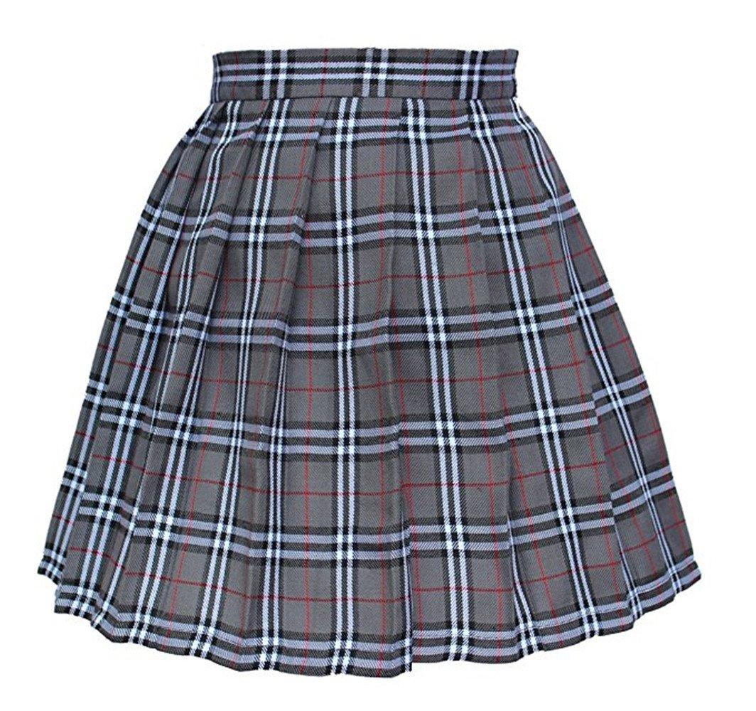 Tremour Girl High Waist Check Kilt Mini Tennis Pleated Skirts(2XL,Grey White)