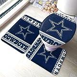 Supfer 3 Piece Non-Slip Bathroom Rugs Set Dallas City Cowboys Living Room Antiskid Pads Bath Mat + Contour + Toilet Lid Cover