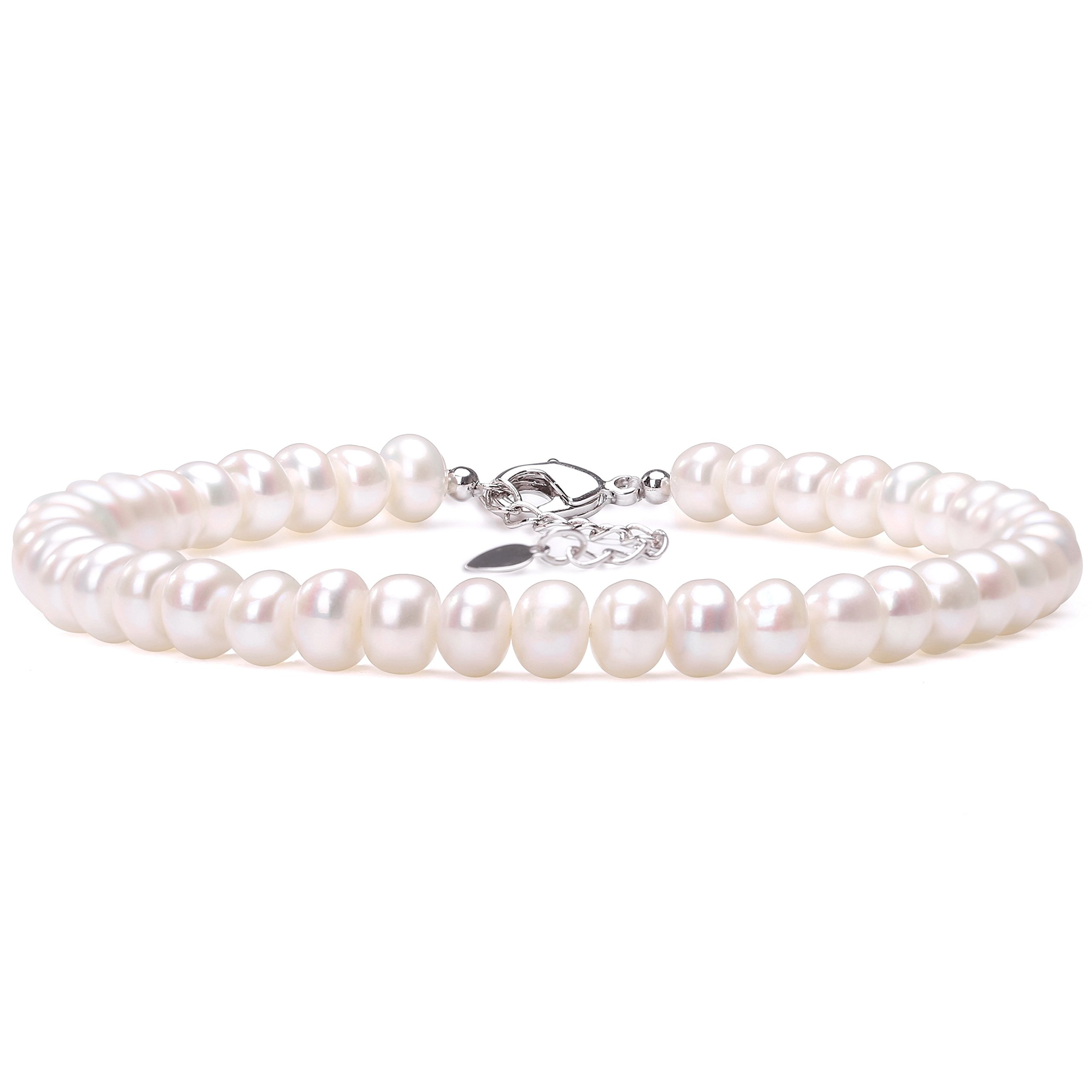 Aobei Cultured Freshwater Pearls Anklet 9 to 10 Inch White Pearl Beaded Jewelry with Lobster Clasp for Women