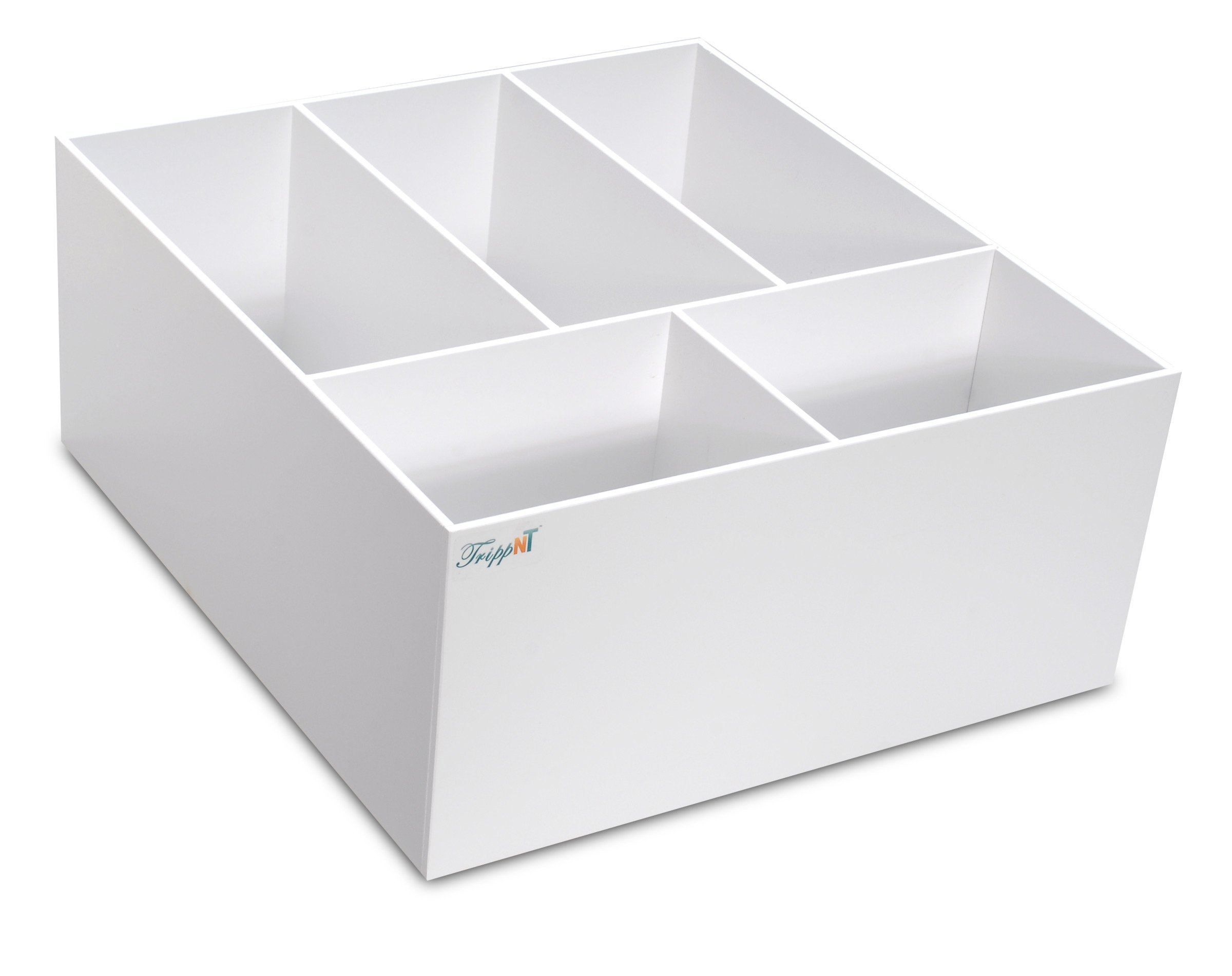 TrippNT 50549 White PVC Plastic 8'' Extra Deep Drawer Organizer, 5 Compartments, 17.5'' Width x 8'' Height x 19.5'' Depth